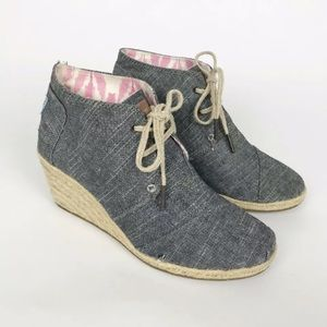 Toms Desert Wedge Chambray Lace Up Booties 8.5